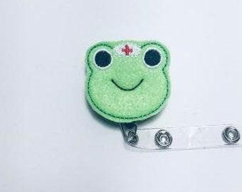 Peace Frog Nurse Name Badge Reel Holder