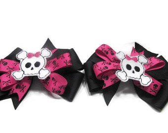 018f37f8a53a Skull and Crossbones Pigtail Bows, Pigtail Bow Set, Cake Smash Bows, Girls  Hair Bows, Boutique Bows, Toddler Bows, Baby Hair Bow