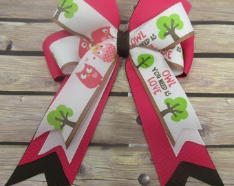 2a1fc3a29 Owl Hair Bow, Tails Down Hair Bow, Owl You Need Is Love Bow, Cheer Bow, Owl  Party Bow, Boutique Bow, Girls Hair Bow