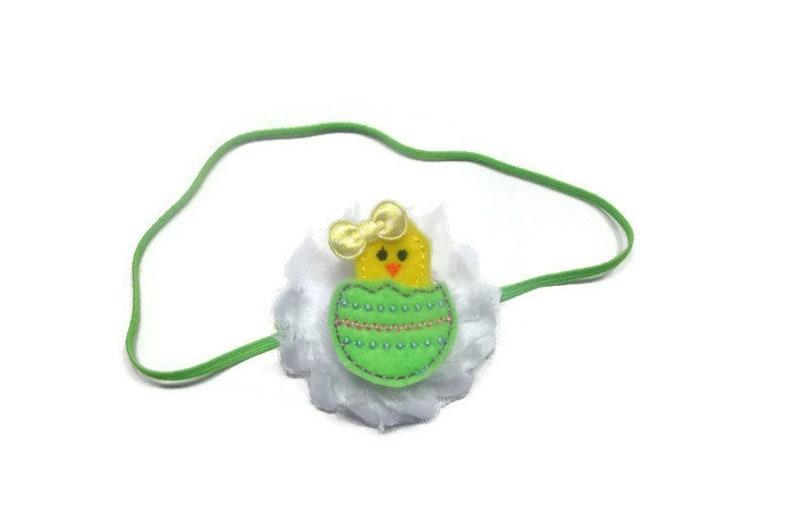 Green Chick Headband Easter Hairbow Headband Baby Chick Baby Girl Headband Easter Headband Infant Headband Baby Headband