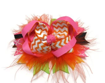 Orange Twisted Layered Boutique Hair Bow, Over the Top Hair Bow, Halloween Bow, Thanksgiving Bow