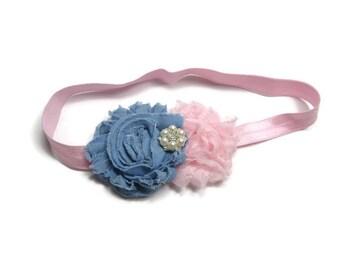 Blue Denim and Pink Shabby Flower Headband, Baby Headband, Toddler Hair Bow, Denim Headband, Blue Jean Hair Bow