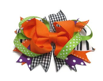 Orange and Green Twisted Layered Boutique Hair Bow, Plaid Halloween Hair Bow, Animal Print Birthday Gift, Back to School Hair Bow