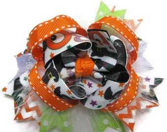 Orange Halloween Twisted Layered Boutique Hair Bow, Boo! Hair Bow, Feather Bow, Back to School