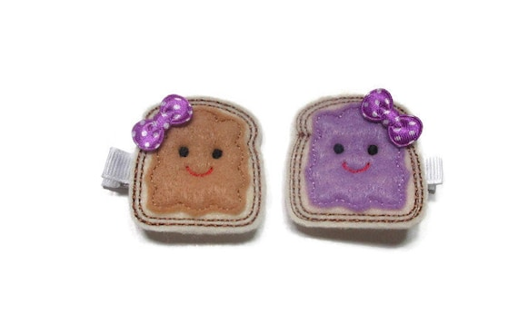 Toddler Clip, Peanut Butter and Jelly Hair Clips Toddler Hair Clips Hair Clips Girl Hair Clips Hair Clippes