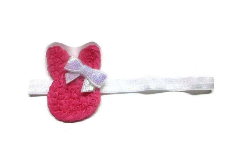 Girls Hair Bow Shabby Headband Pink Bunny Bow Boutique Bow Babys First Easter Bunny Headband Baby Headband Easter Headband