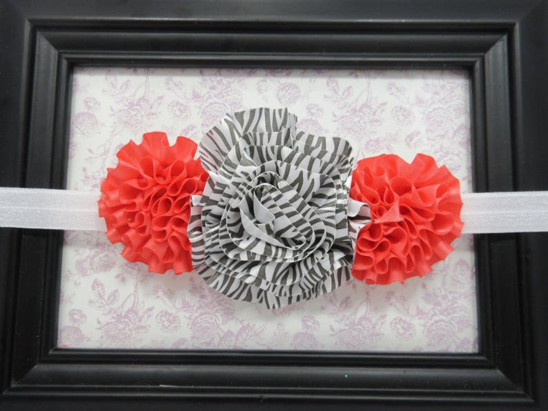 Animal Print Headband Coral and Zebra Striped Big Flower Headband Trendy Headband
