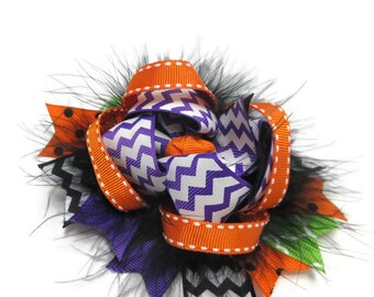 Purple Chevron Twisted Layered Boutique Hair Bow, Over the Top Bow, Halloween Colored Bow, Birthday Gift