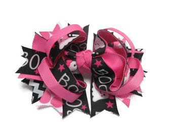 Boo! Halloween Twisted Layered Boutique Hair Bow, Back To School Bow, Birthday Gift