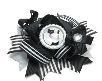 Black Cat Twisted Layered Boutique, School Bow, Halloween Bow, Birthday Gift