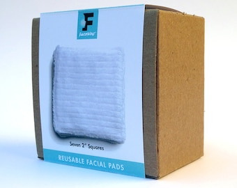 """Soft Reusable Microfiber 2"""" Square Face Pads - 7, Zero Waste Makeup Wipes, Stain Resistant, Gift for Her, Washable travel accessory"""