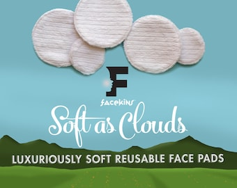 """Reusable Face Pads 3-3/4"""", Facial Rounds,Makeup Remover Pads, Eco Friendly Skin Care, College Student Gift for Her, Cotton Rounds, 7 Pads"""