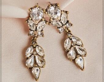NEW! Diamante 2 Row Long Drop Earrings Clear Silver Tone Diamonte