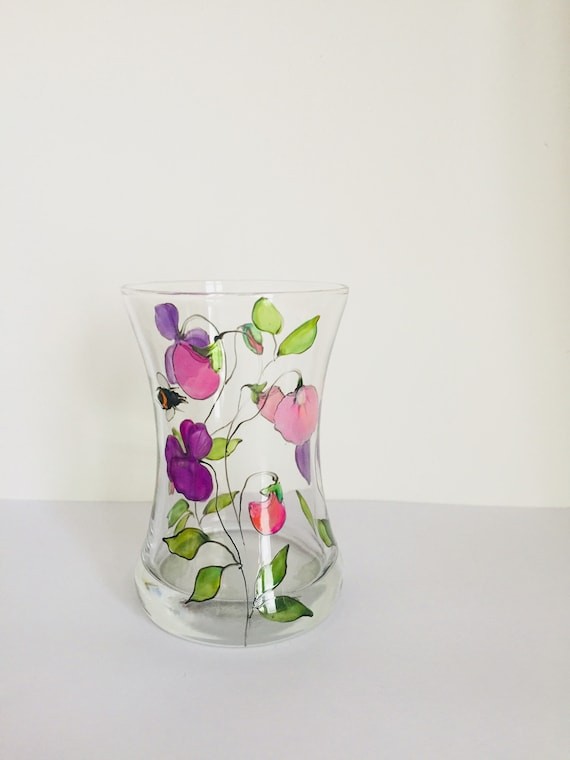 Sweet Pea With Bee Vase Hand Painted Glass Glass Vase Sweet Etsy