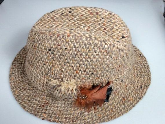Vintage Mens hat Irish Brown Tweed Wool Bucket Fedora Hat Size  dff2e22131b