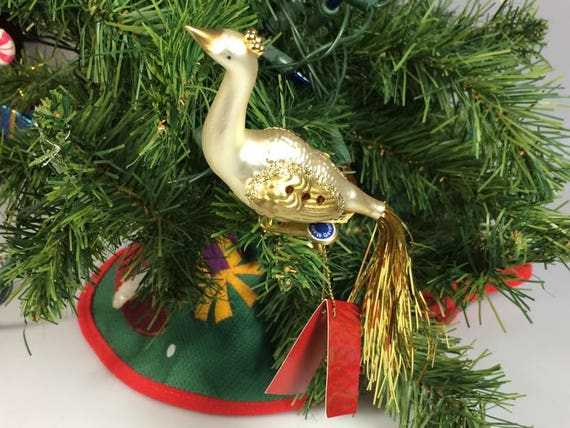 Vintage German blown glass bird clip on Christmas Ornament, Christmas decoration ornament secret santa gift for her bird watcher gift NOS