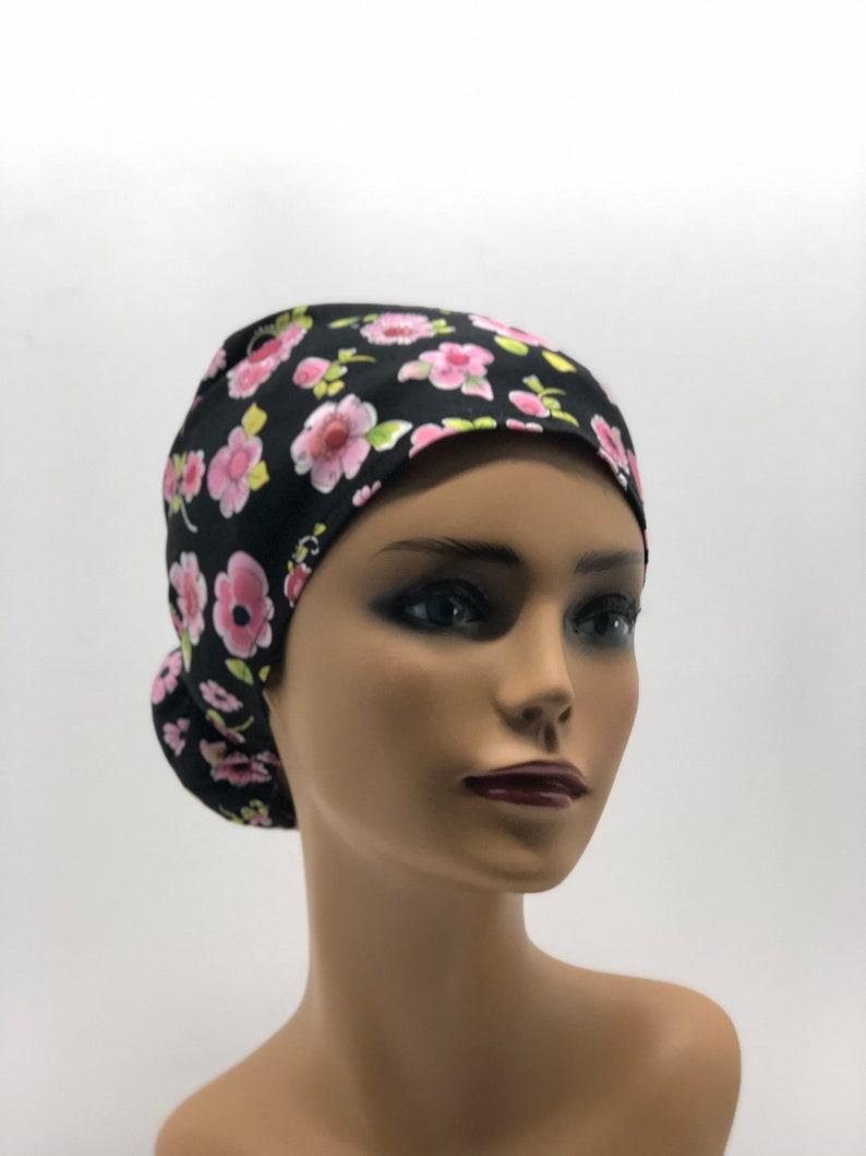 Women Scrub caps100/%cotton,made in USA,Doctor cap,Surgical cap,Nurse cap,medical cap,chemo cap,adjustable back elastic and tie,
