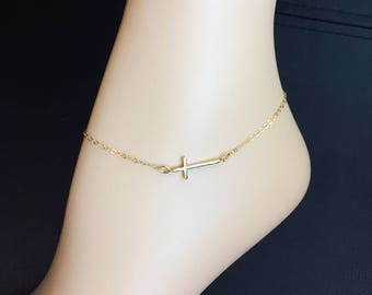 Gold or Silver Crystal Multi Cross Anklet