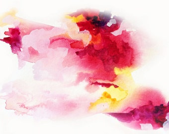 """Original Abstract Watercolor 'Boost'-Small Watercolor-5.5"""" x 8.5""""-Original Painting-Red, Orange, Yellow-Warm Color Painting-With COA"""