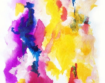 """Original Abstract Watercolor 'Enigma' by Shaolan Sung-5.5""""x8.5""""-Hot Pink, Red, Blue,Yellow,Purple-Small Watercolor-With COA"""