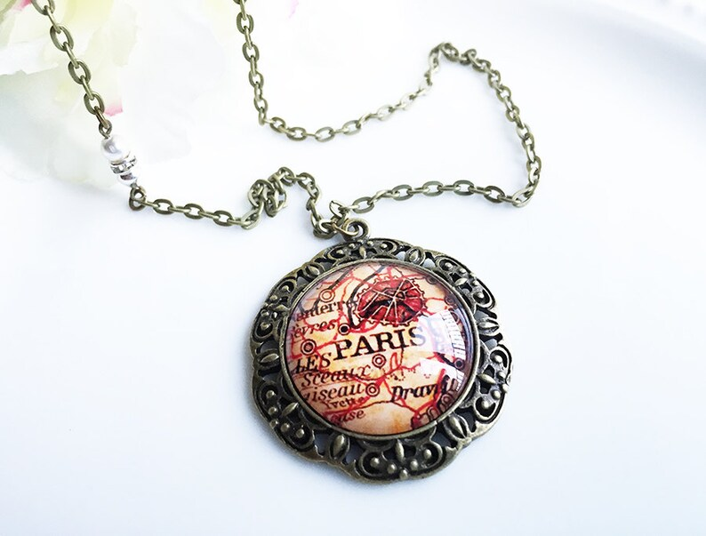 necklace pendant watch Vintage Friendship and Prayers Cabochon Glass Bronze Pendant  Necklace