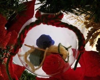 Crochet Hook & Yarn Balls Clear Christmas Ornament, Crocheters Gift, Christmas Decor, Tree Ornament, Yarn Ornament, Crochet Gift