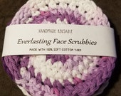 Everlasting Face Scrubbies Reusable Handmade Crochet Cotton with goat milk shea butter soap samples