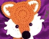 Fox APPLIQUE - Crochet Fox Applique - Fox - Full Body - Affixes To Most Anything
