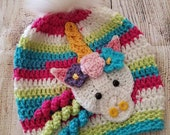 Unicorn Beanie - Hand Crochet - Candy Stripes - Fur Pom Pom - Applique - Gifts For Her - Hat - Unicorn Hat - Unicorn Hats