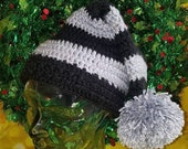 "Winter Santa style hat slouchy beanie with 4.5"" pom pom"