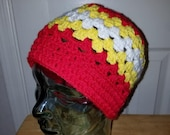 KC Chiefs Inspired Granny Stitch Unisex Adult Hat Toque Beanie Red Yellow White