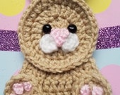 Bunny APPLIQUE - Crochet Bunny Applique - Bunny - Easter - Easter Bunny - Affixes To Most Anything