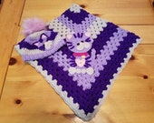Grape Kitty Applique Baby Crochet Afghan Blanket and Matching Crochet Beanie with Fur Pom Pom