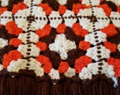 Granny Square Rust Brown Cream Afghan with Fringe / Crochet Afghan / Handmade / Heirloom/ Christmas Gift / Ready to Ship