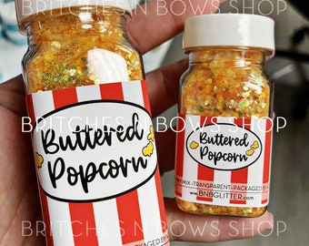 Buttered Popcorn    Exclusive Premium Polyester Glitter, 1oz by Weight • TRANSPARENT •    up to .125