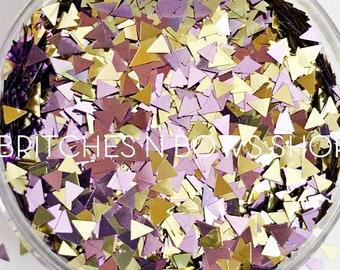 NEW Baby Pyramids    Fun Triangle Glitter, 1oz Jar (Lilac, Gold)