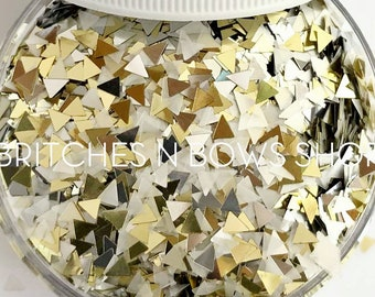 NEW Itty Bitty TeePees    Fun Triangle Glitter, 1oz Jar (Pearl White, Silver, Gold)