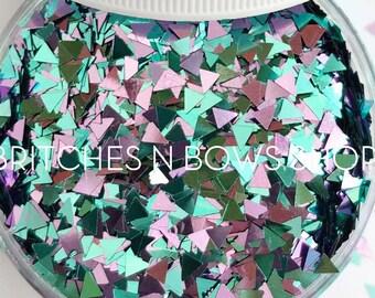 NEW Bermuda Triangles    Fun Triangle Glitter, 1oz Jar (Teal, Lilac)