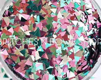 NEW You're so Acute    Fun Triangle Glitter, 1oz Jar (Teal, Pink, Silver)