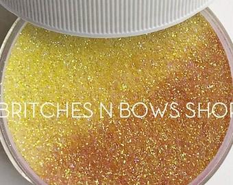 Candy Corn [UV Yellow to Pink-Orange] Sun Shift || Exclusive Premium Polyester Glitter, 1oz Jar • TRANSPARENT • || .008 cut