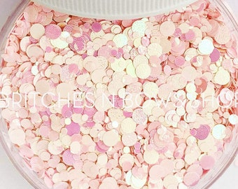 Bubblegum Gumballs (AKA Wacky Watermelon Gumballs) || Confetti Dot Glitter Mix, 1oz Jar • OPAQUE •