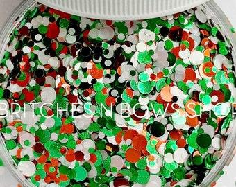 Candy Cane Forest || Exclusive Confetti Dot Glitter Mix, 1oz Jar • Semi-OPAQUE •