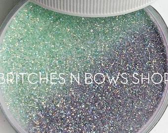 Mad Tea Party UV [Soft Green to Lavender] || Exclusive Premium Polyester Glitter, 1oz Jar • TRANSPARENT • || .008 cut