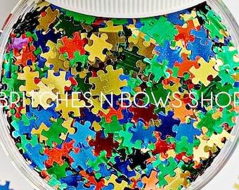True Colors || Oiginal BnB Puzzle Glitter Shape, 1oz Jar • OPAQUE • || 6mm