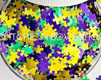 Puzzle Parade    Exclusive & Original Mardi Gras Inspired Puzzle Glitter Shape Mix, 1oz Jar • OPAQUE •    6mm