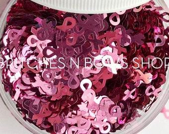 Pink Ribbons || Awareness Glitter Ribbons, 1oz Jar • OPAQUE • || 6mm
