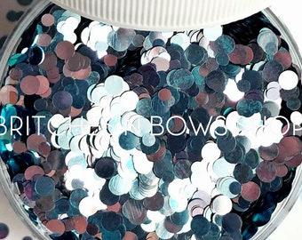 Dew Drops || Color Shift Dot Glitter, 1oz Jar (Shift Blue, Lilac, Silver) • OPAQUE •