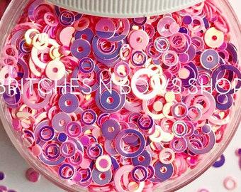 Ring Around the Rosie || Round Glitter Shapes, 1oz Jar • OPAQUE •