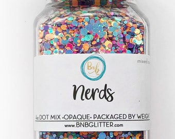 Nerds BULK    Exclusive Premium Polyester Glitter, 4oz by Weight • OPAQUE •    dot mix