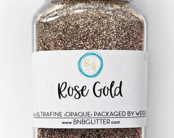 Rose Gold BULK || Exclusive Premium Polyester Glitter, 4oz by Weight • OPAQUE • || .008 cut